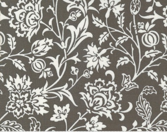 Pumpkins & Blossoms by Fig Tree for Moda -  20420-17 Pumpkin Vine Damask Charcoal - 1/2 yd Increments, Cut Continuously OR Fat Quarter