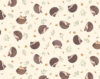 Little Fawn & Friends by Dear Stella -  DNS1909 Hedgehogs in Cream - 1/2 yd Increments or Fat Quarters, Cut Continuously