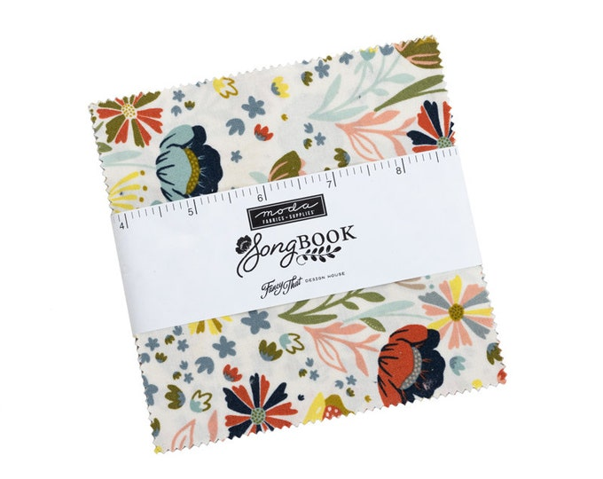 """Songbook by Fancy That Design House for Moda -  5"""" Charm Pack - Precut 5"""" x 5"""" Squares - 42 pieces"""