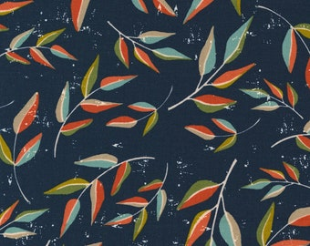Songbook by Fancy That Design House for Moda   45523-15 Leaf Dream Floral Branch in Midnight   Continuous 1/2 yd Increments OR Fat Quarter