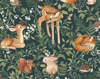 Little Fawn & Friends by Dear Stella -  DNS1908 Little Fawn and Friends in Willow - 1/2 yd Increments or Fat Quarters, Cut Continuously