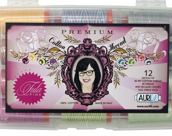 Tula Pink Premium Thread Collection for Aurifil - 12 Large Spools 50WT