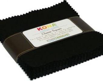 "Kona Black Charm Pack by Robert Kaufman -  5"" Stacker - Precut 5"" x 5"" Squares - 42 pieces"