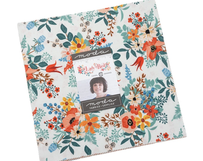 """PRE-ORDER: Lady Bird by Crystal Manning for Moda -  10"""" Layer Cake - Precut 10"""" x 10"""" Squares - 42 pieces"""