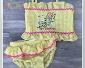 Disney Swimsuit for little girls 2 piece yellow seersucker Disney Cruise Minnie Mouse embroidery personalized