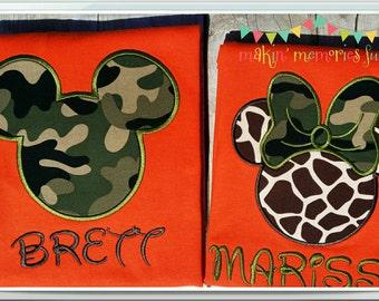 Mickey and Minnie Mouse camouflage giraffe T shirt. Disney camo print. Orange  SHORT SLEEVE unisex T-shirt. 1 shirt, Mickey or Minnie Mouse