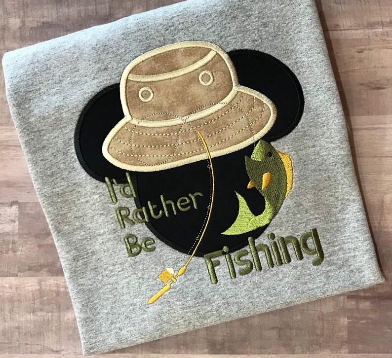 b29b2efbafa Disney Mickey Mouse Fishing shirt I d Rather Be Fishing
