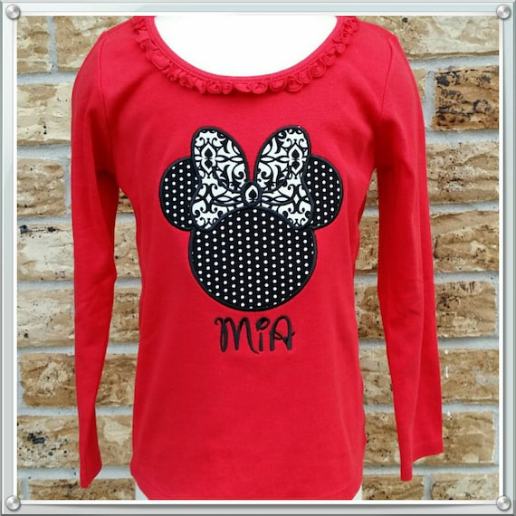 85770218f Minnie Mouse appliqued girls long sleeve ruffle neck tee | Etsy