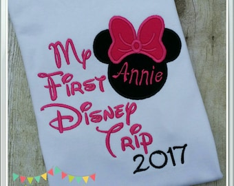 My First Disney Trip T-shirt, personalize with name or initials and the year!  Minnie mouse,  pink bow and embroidery, short sleeve
