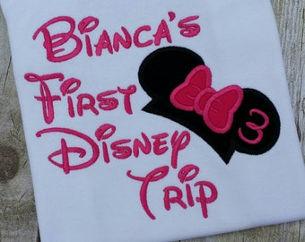 My First Disney Trip T-shirt, personalize with your name!  Minnie mouse ears with a pink bow applique and embroidery. Birthday age too!