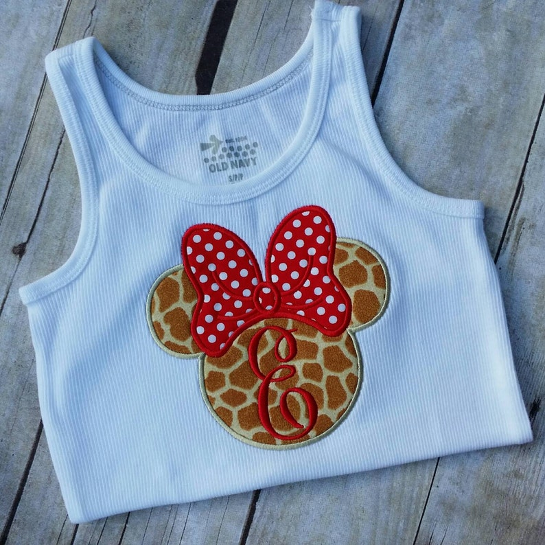 7153828805a Minnie Mouse Tank top, white tank, Giraffe print Minnie with red polka dot  bow, Disney tank