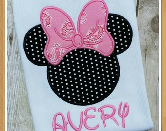Minnie Mouse classic applique tee. Black white dots and pink paisley print bow for infant, toddler, girls & adults. Disney Minnie T shirt