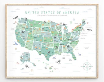 US Map, Instant Download, 4 Print Sizes, Usa Wall Art, Usa Map Print, Map  Nursery, Educational Poster, Map Poster, Travel Map, Playroom Art