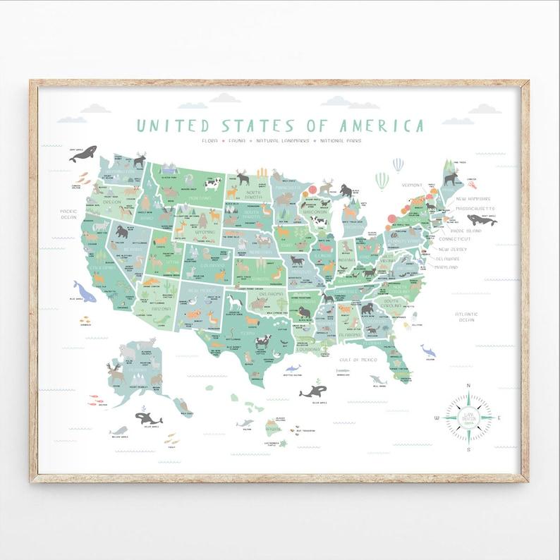 Usa Map Us Map Wall Art Map Nursery Art My First Map Map Etsy