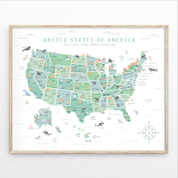 Us Map Instant Download 4 Print Sizes Usa Wall Art Usa Map Etsy - Us-detailed-map