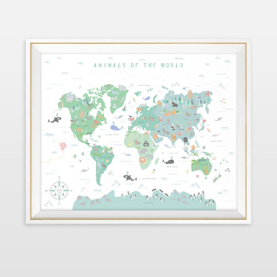 Animal world map instant download map nursery art my first etsy image 0 gumiabroncs Images