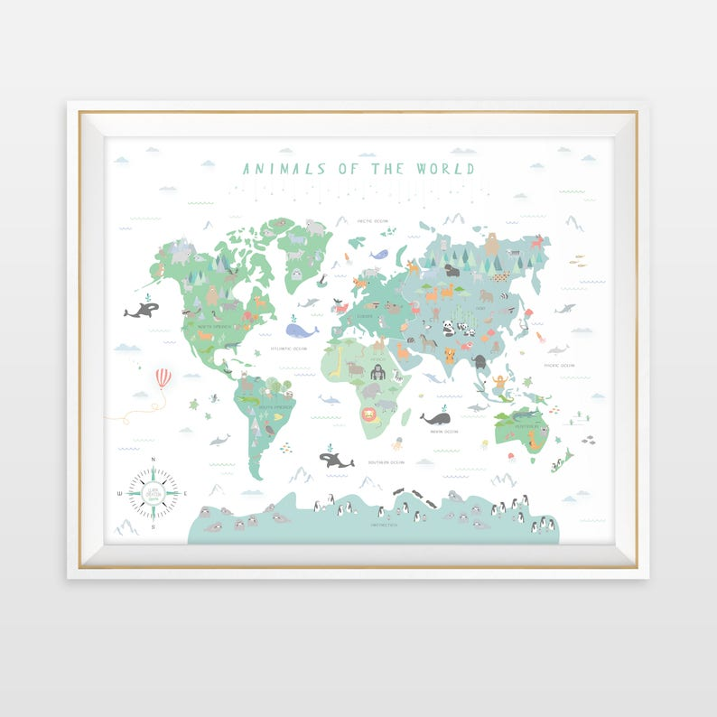 Animal World Map Instant Download Map Nursery Art My First Etsy