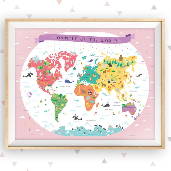 World map instant download map nursery art my first map etsy gumiabroncs Images