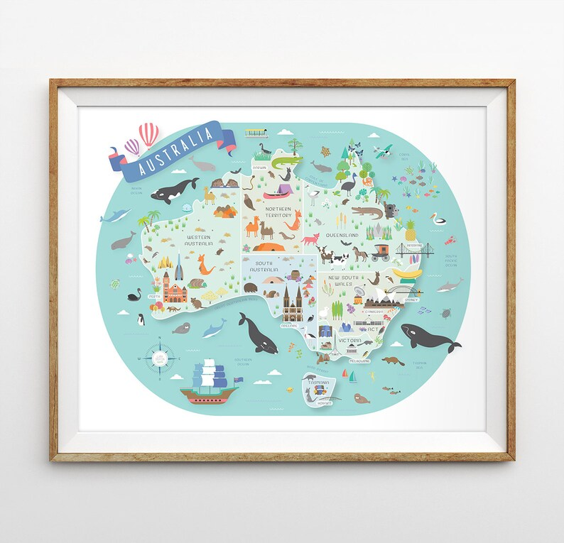 Australia Map Landmarks.Australia Map Australian Nursery Map Nursery Art Aussie Map Travel Theme Nursery Map Of Australia Canvas Map Australia Poster
