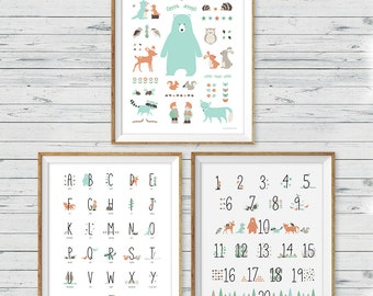 Woodland Animal Poster Wall Art, set of 3, Woodland Nursery Wall Art, Woodland Wall Art, Woodland Nursery Print, Woodland Alphabet, ABC art