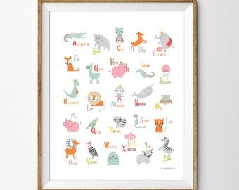 Alphabet Poster, Alphabet Print, ABC Wall Art, Alphabet Wall Art, Animal Nursery Art, Alphabet Nursery Print, Animal art, Nursery decor, ++