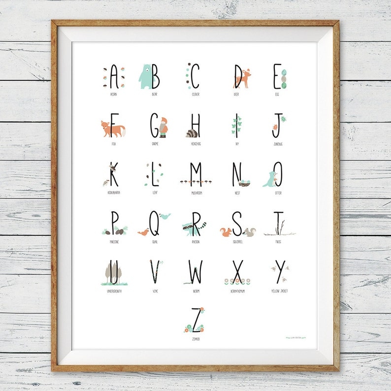 Woodland Alphabet Poster Instant Download Abc Poster image 0
