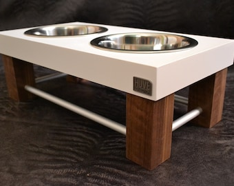 Modern elevated bowls wood and aluminum by HUVE collection