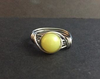 Lemon Jade Wire Wrapped Ring