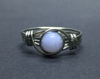 Chalcedony Wire Wrapped Ring