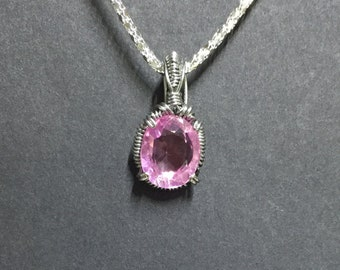 IGL Certified Natural Kunzite Necklace. Kunzite Pendant Necklace. Wire Wrapped Afghanistan Kunzite.
