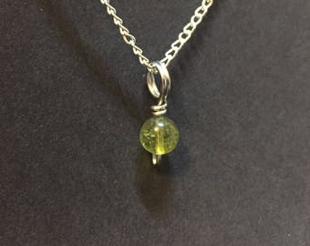 Tiny Green Tourmaline Charm Necklace
