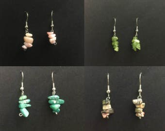 Wholesale Stone Earrings.  Hypoallergenic Surgical Steel Earrings. Stone Chip Earrings. Wholesale Jewelry Earrings Bulk Jewelry Lot
