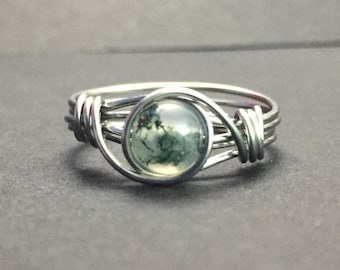 Moss Agate Wire Wrapped Ring
