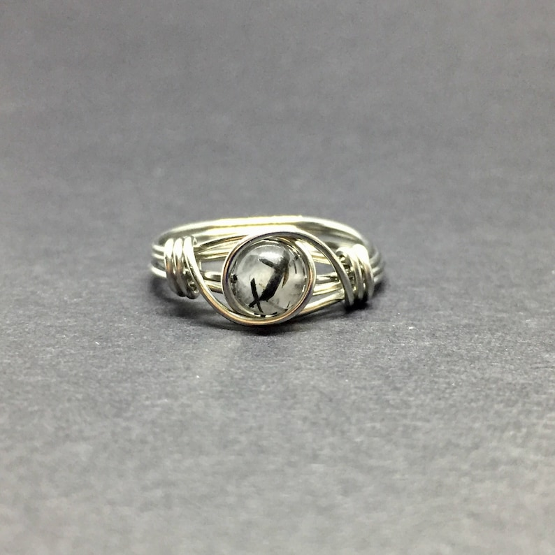 Tourmalated Quartz Wire Wrapped Ring