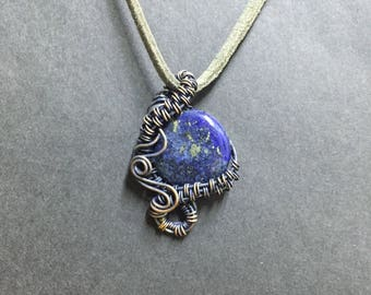 Lapis Lazuli Necklace, Stone Necklace, Copper Wire Wrapped Pendant Necklace