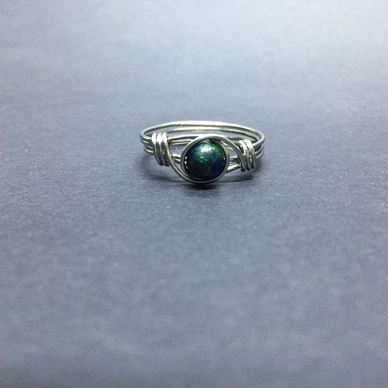 Azurite in Lapis Wire Wrapped Ring