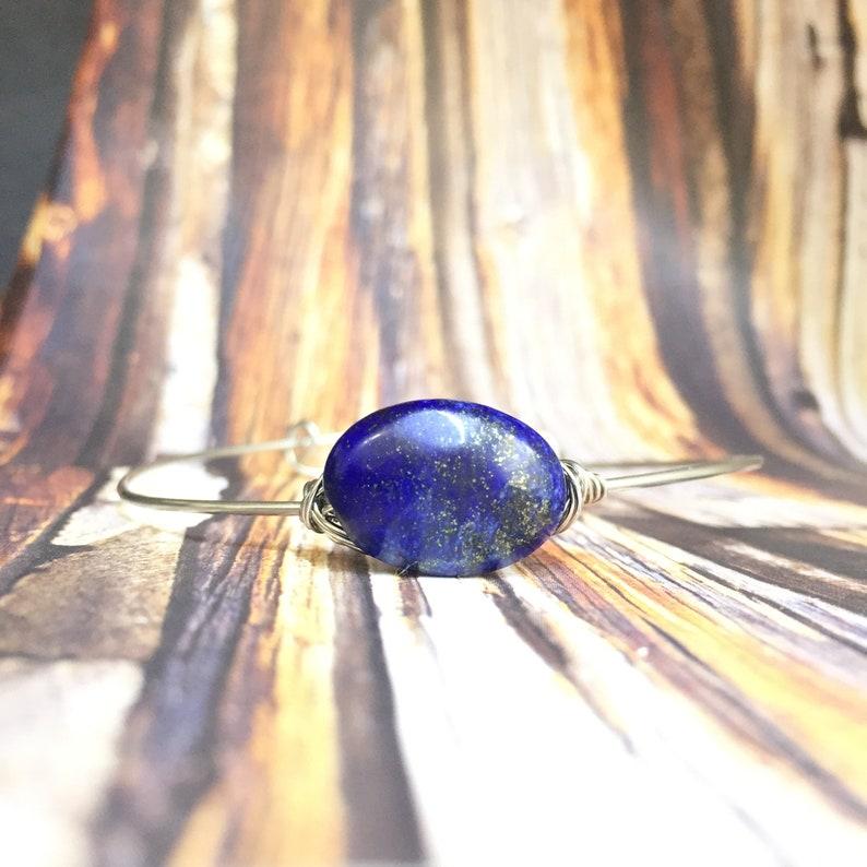 Lapis Lazuli Bracelet Stainless Steel Bracelet Wire Wrapped Stainless Adjustable Stone Bracelet Adjustable Stainless Bracelet
