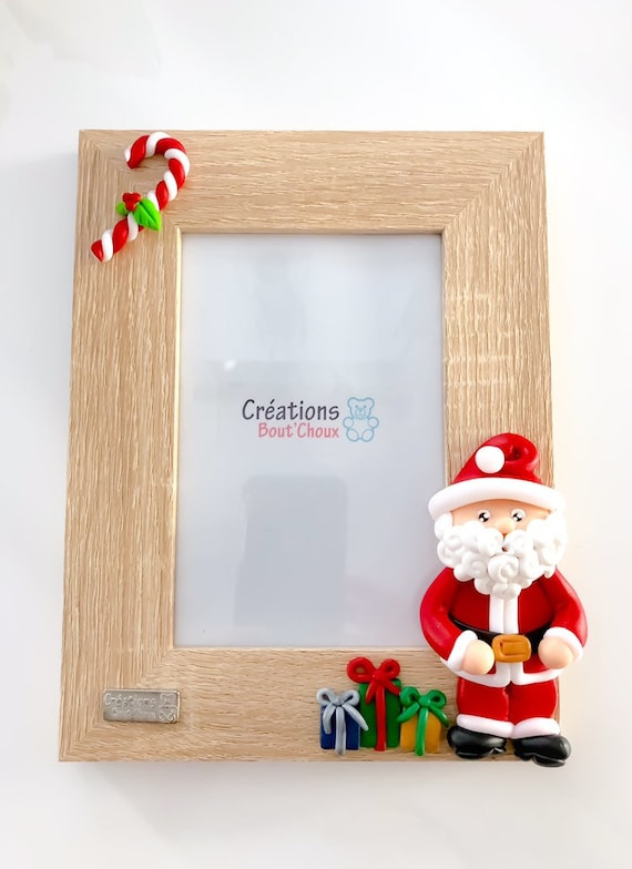 Frame 4 X 6 Santa Claus Frame Picture Wood With Glass Polymer Clay Xmas Santa Children S Room Souvenir Picture Christmas