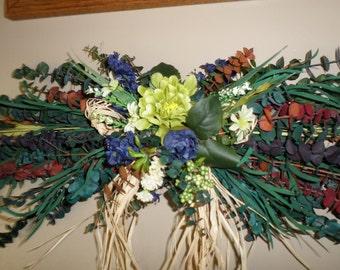 Eucalyptus swag etsy blue and yellow dried floral eucalyptus swag summer silk flower swag wreath mightylinksfo