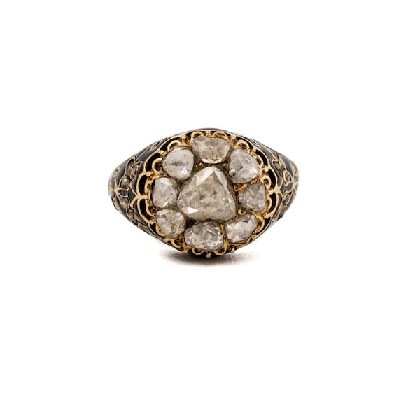 Antique Victorian Diamond & Enamel Gold Ring