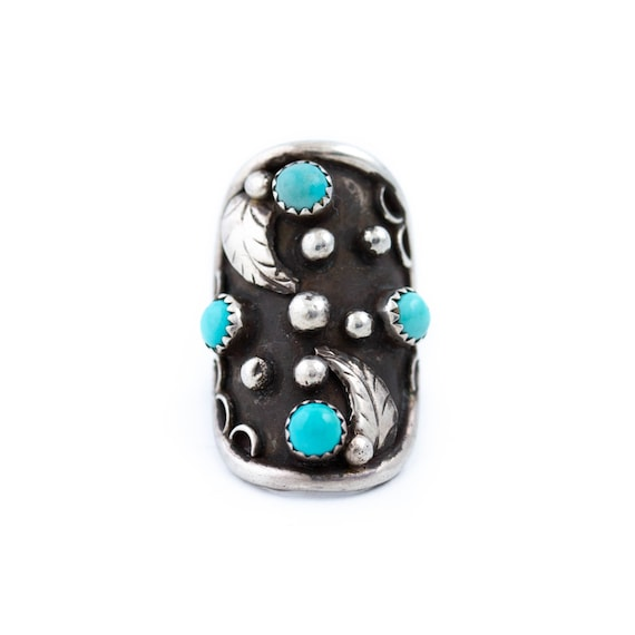 Long Turquoise ring Navajo sterling silver women   Size  5.50