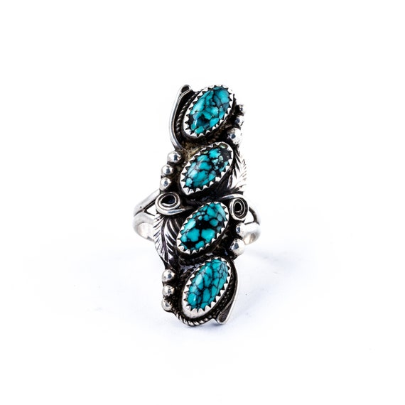 Stacked Blue Spiderweb Turquoise Navajo Ring