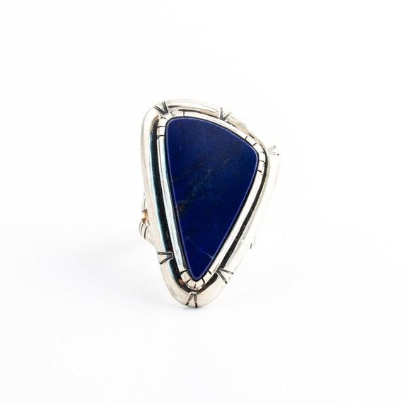 Geometric Art-Deco Delta Ring w Deep Royston Turquoise by Kingdom