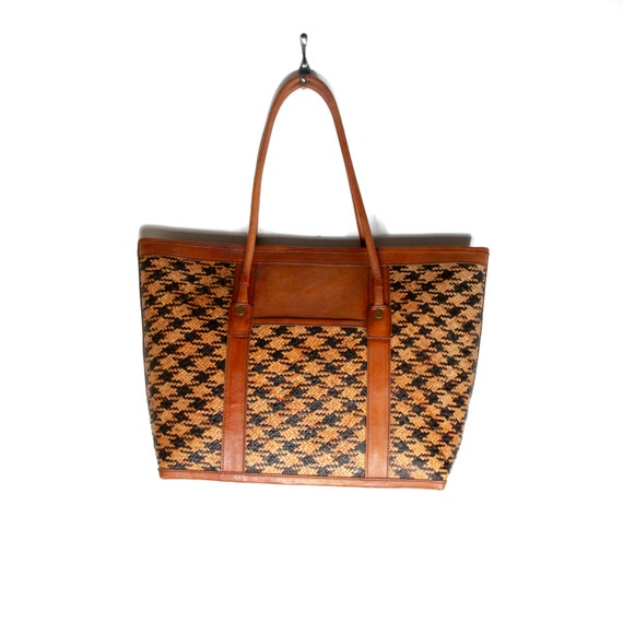 "Large ""Checkered"" Rattan Borneo Side Bag"