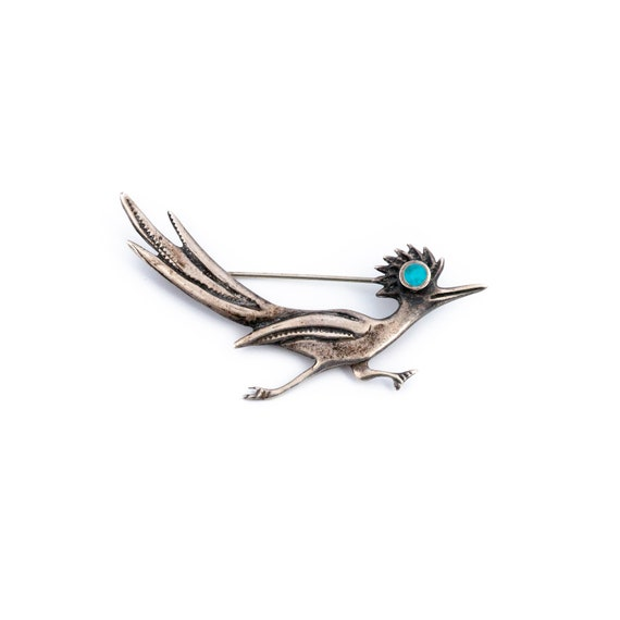 Vintage Sterling Silver Roadrunner Brooch Pin TURQUOISE Southwest Native Indian Turquoise Sterling Bird Trending Rare