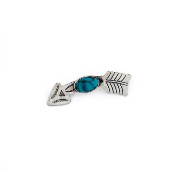Silver 1950's Arrow Blue Turquoise Navajo Brooch P