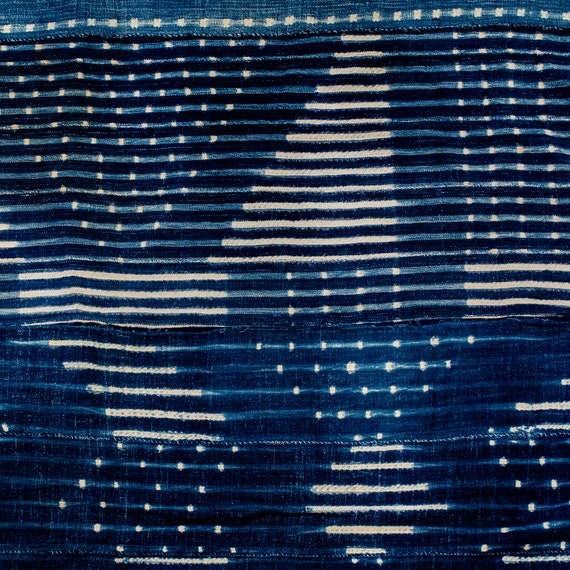 Abstract West African Indigo Mud Cloth