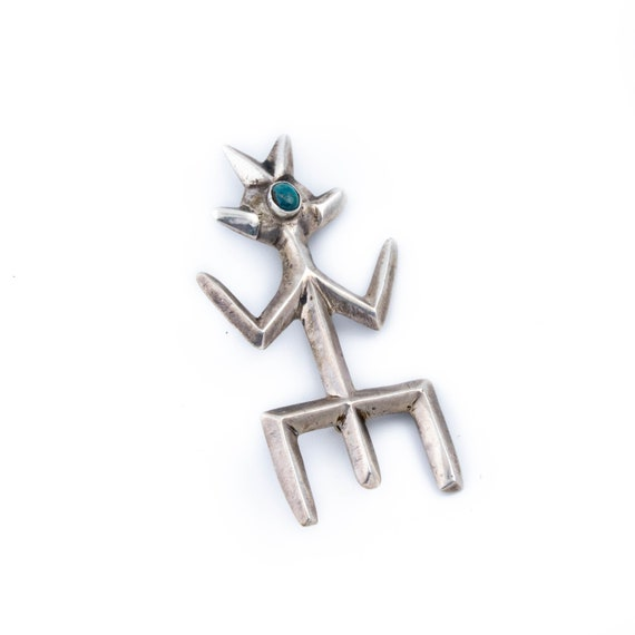 Wicked 1950/'s Silver Navajo Stickman Pin