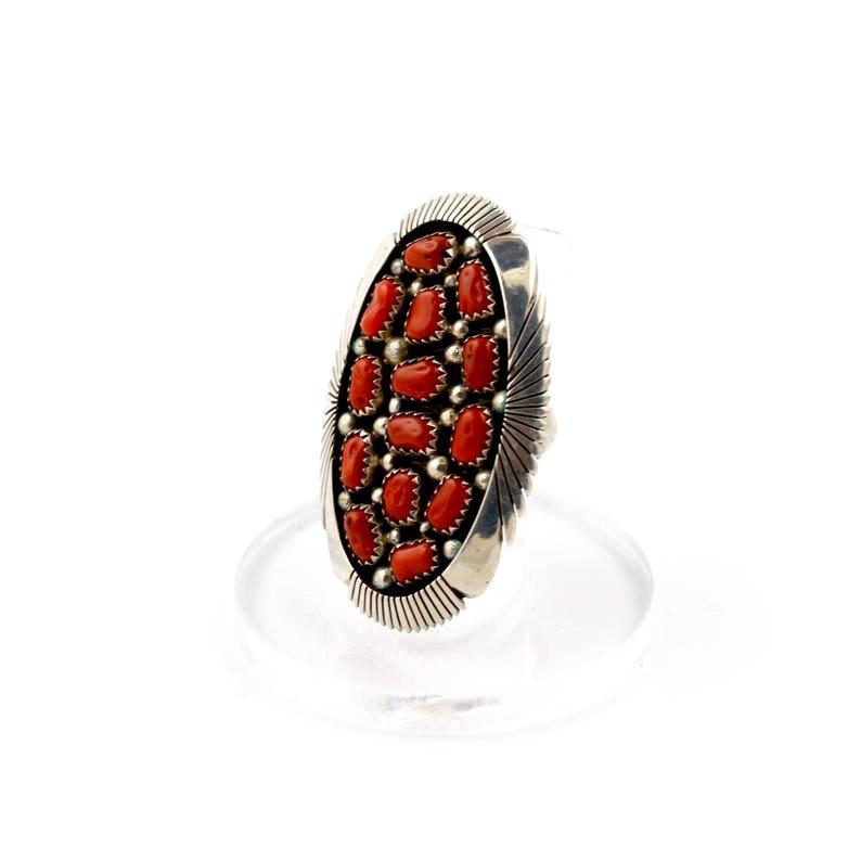 Vintage Multi-Stone Cluster Red Coral Navajo Ring