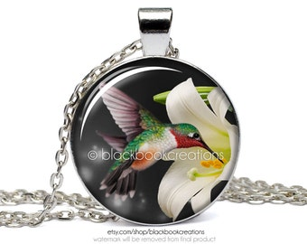 Hummingbird and Lily Necklace -  Handmade